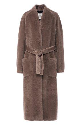 Шерстяное пальто с поясом Eleventy Platinum серого цвета | Фото №1