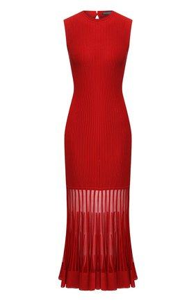 Приталенное платье-миди с оборкой | Фото №1