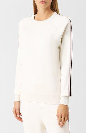 Шелковый костюм с джоггерами и пуловером Olivia Von Halle кремовый | Фото №1