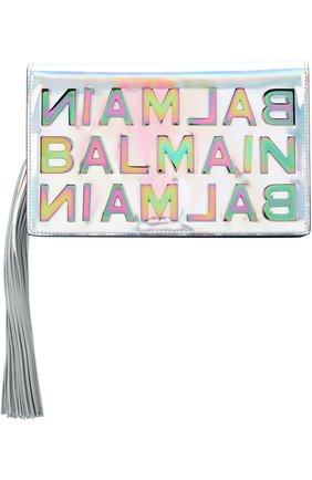 Клатч BBox mini из металлизированной кожи Balmain серебряного цвета   Фото №1