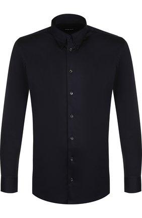 Мужская хлопковая рубашка с воротником кент GIORGIO ARMANI темно-синего цвета, арт. 8WGCCZ06/JZ070 | Фото 1