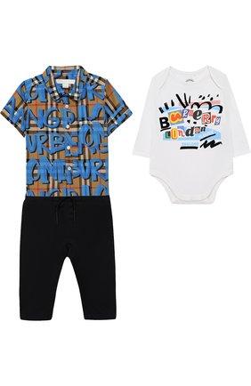 Хлопковый комплект из боди и брюк с рубашкой | Фото №1