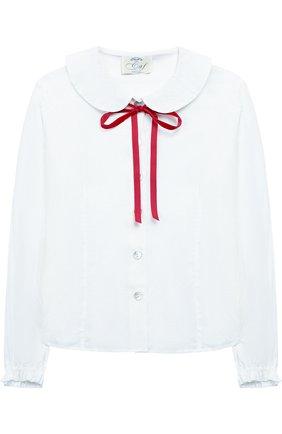 Блуза из вискозы с контрастным бантом | Фото №1