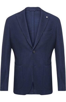 Однобортный пиджак из смеси шерсти и хлопка L.B.M. 1911 темно-синий | Фото №1