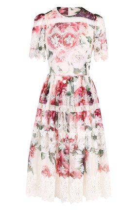 Платье-миди из смеси шелка и хлопка с принтом Dolce & Gabbana разноцветное   Фото №1