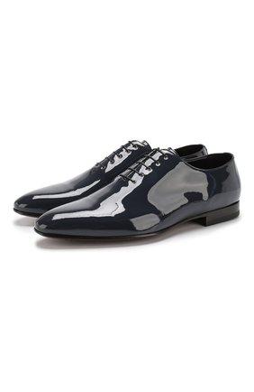 Лаковые оксфорды на шнуровке A. Testoni синие   Фото №1