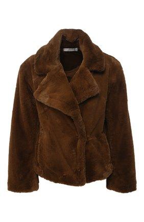 Куртка из эко-меха с отложным воротником Vince коричневая | Фото №1