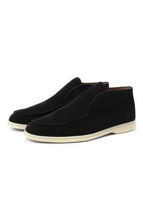 Мужские замшевые ботинки open walk LORO PIANA черного цвета, арт. FAB4368 | Фото 1