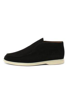 Мужские замшевые ботинки open walk LORO PIANA черного цвета, арт. FAB4368 | Фото 2