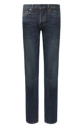 Мужские джинсы-скинни с потертостями TOM FORD синего цвета, арт. BRJ21/TFD002 | Фото 1