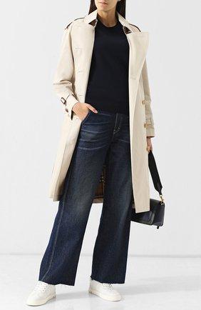 Шерстяной пуловер с круглым вырезом Burberry темно-синий   Фото №1