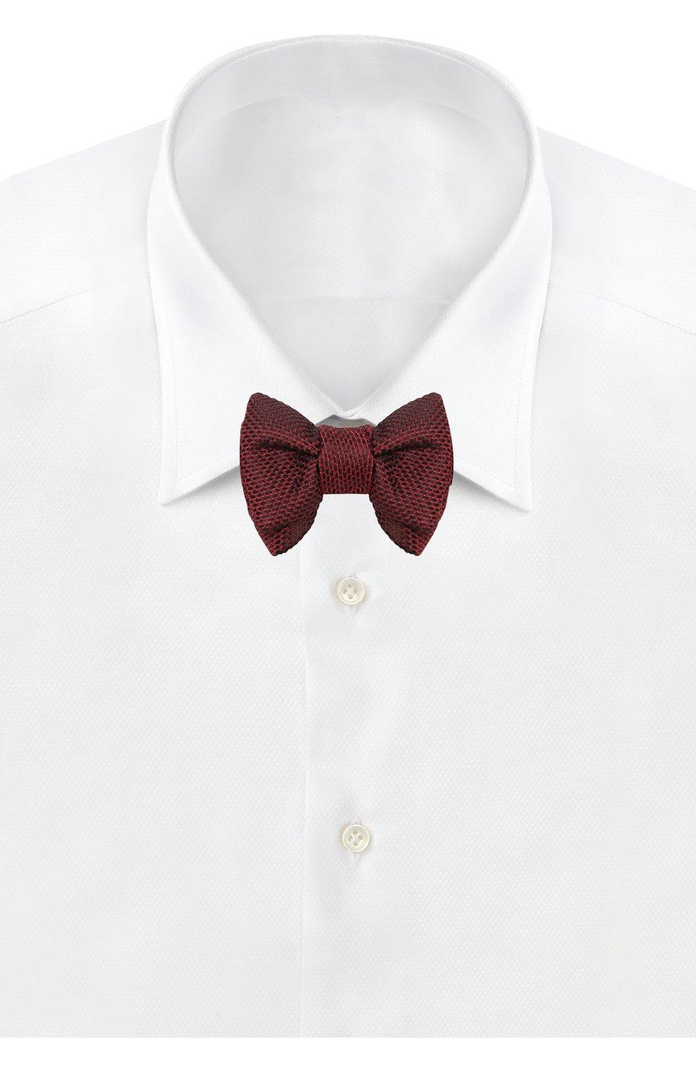 Мужской галстук-бабочка из смеси шелка и хлопка TOM FORD красного цвета, арт. 4TF24/4CH | Фото 2