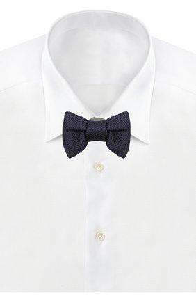 Мужской галстук-бабочка из смеси шелка и хлопка TOM FORD темно-синего цвета, арт. 4TF24/4CH | Фото 2