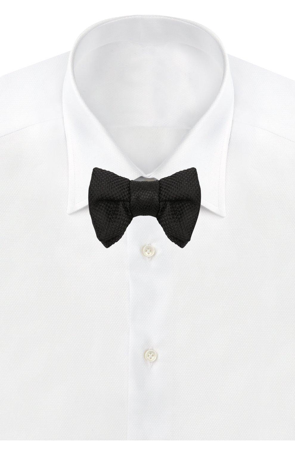 Мужской галстук-бабочка из смеси шелка и хлопка TOM FORD черного цвета, арт. 4TF24/4CH   Фото 2