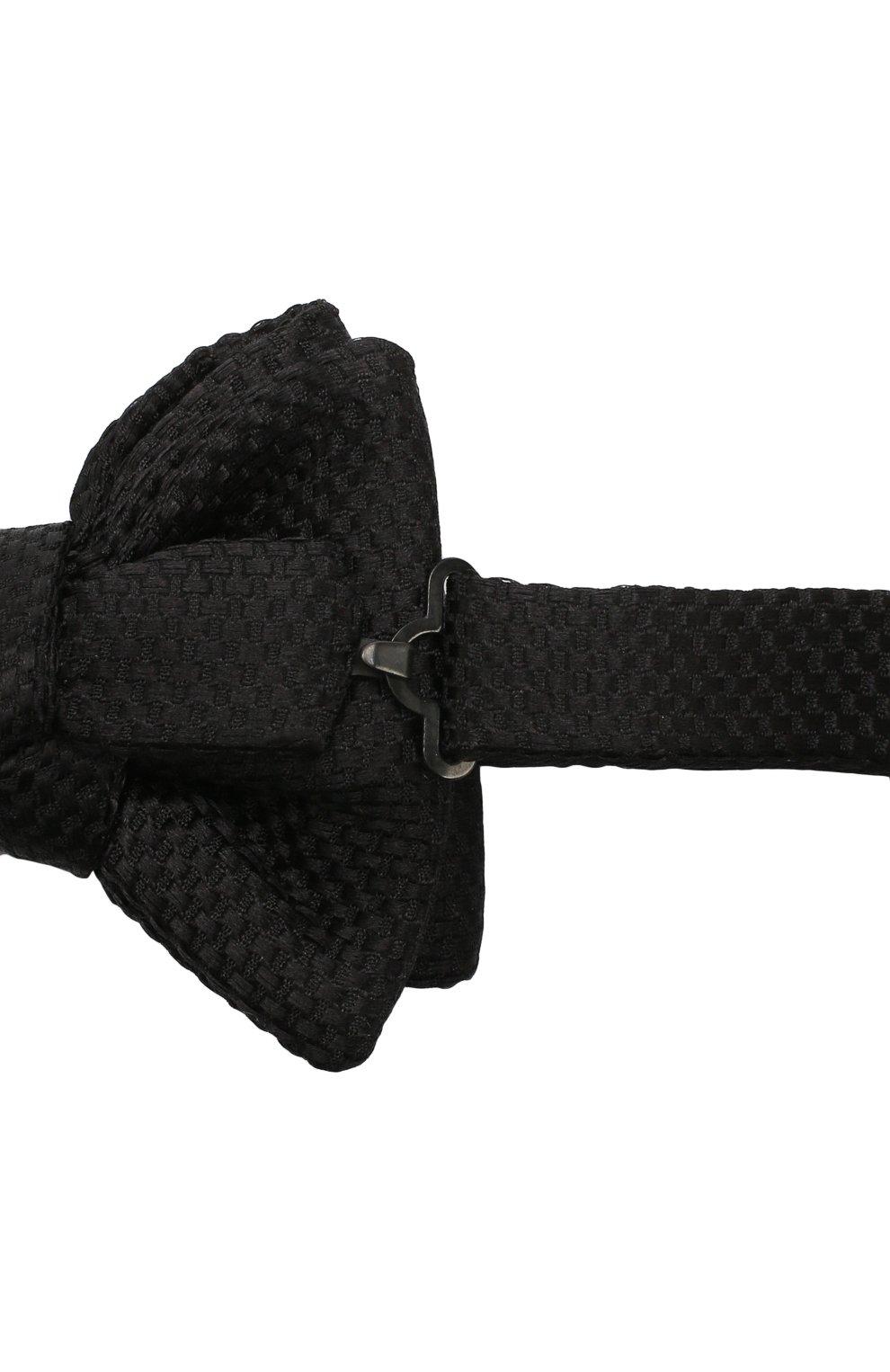 Мужской галстук-бабочка из смеси шелка и хлопка TOM FORD черного цвета, арт. 4TF24/4CH   Фото 3