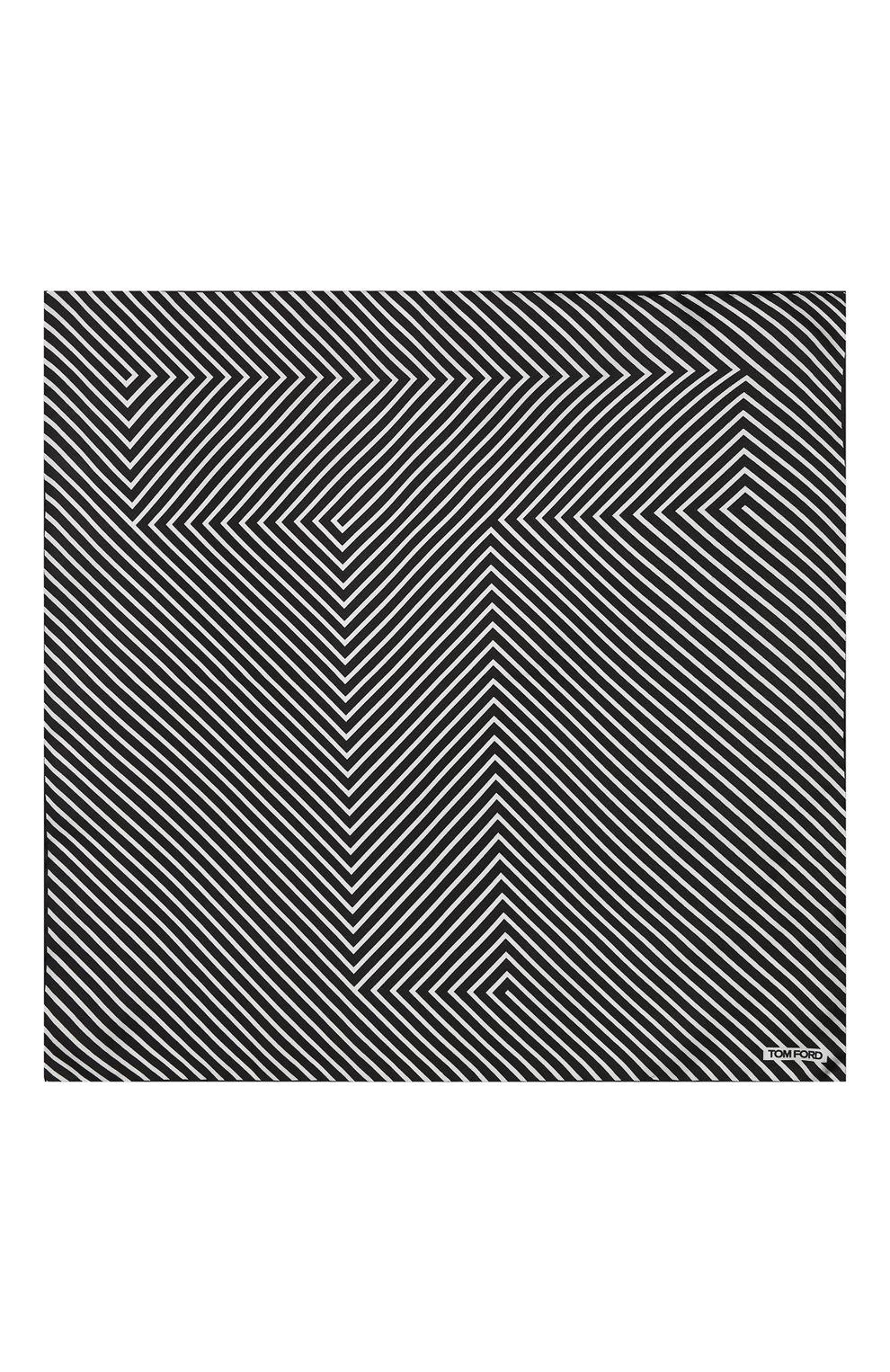 Мужской шелковый платок TOM FORD черно-белого цвета, арт. 4TF93/TF312 | Фото 3