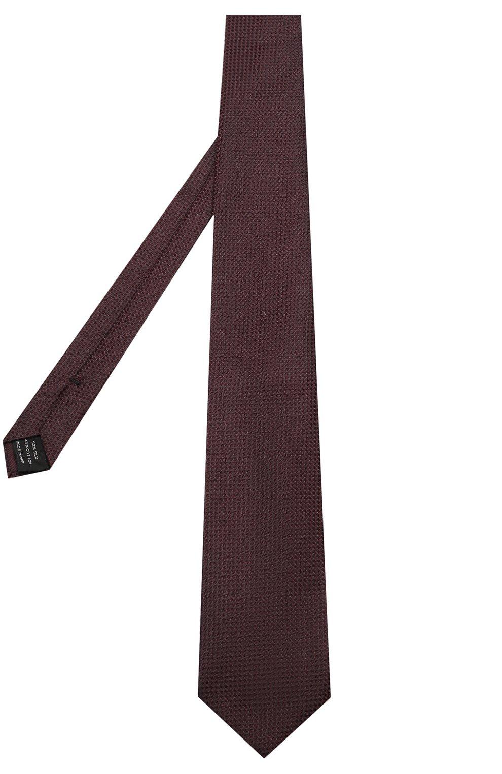 Мужской галстук из смеси шелка и хлопка TOM FORD фиолетового цвета, арт. 4TF24/XTM   Фото 2