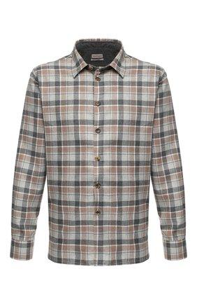 Хлопковая рубашка с воротником кент Luciano Barbera светло-коричневая | Фото №1