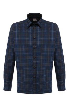 Хлопковая рубашка с воротником кент Luciano Barbera темно-синяя | Фото №1