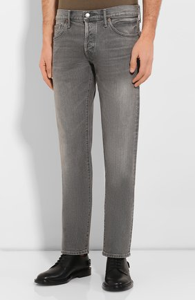 Мужские джинсы прямого кроя TOM FORD серого цвета, арт. BRJ04/TFD002 | Фото 3