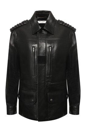 Кожаная куртка с накладными карманами | Фото №1