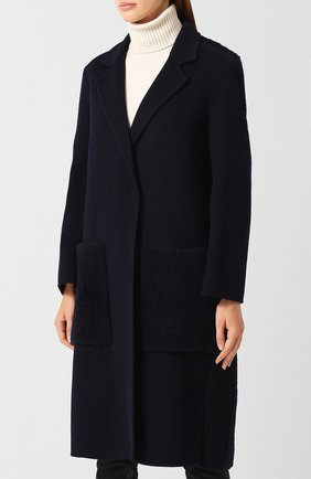 Шерстяное пальто с меховой отделкой | Фото №3