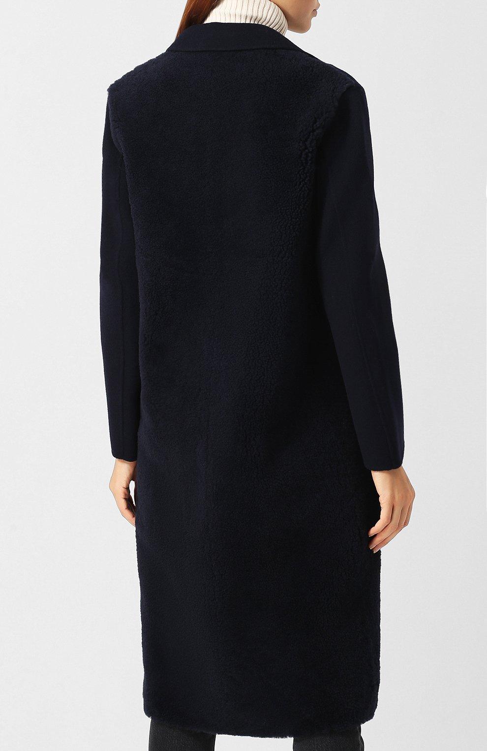 Шерстяное пальто с меховой отделкой | Фото №4