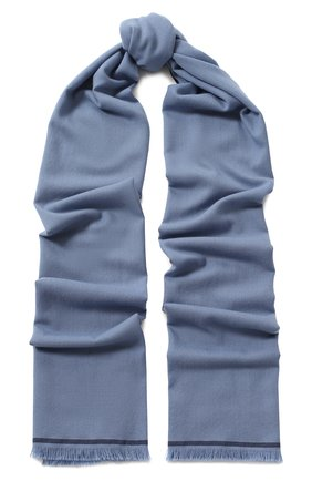 Мужской шерстяной шарф с необработанным краем LORO PIANA голубого цвета, арт. FAI1134 | Фото 1