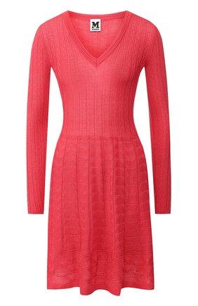 Вязаное мини-платье с V-образным вырезом   Фото №1