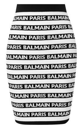 Мини-юбка с логотипом бренда Balmain черно-белая   Фото №1