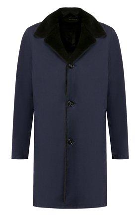 Однобортное пальто из смеси шерсти и шелка с меховой отделкой воротника | Фото №1
