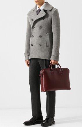 Кожаная сумка для ноутбука Riserva с плечевым ремнем Serapian бордовая | Фото №1
