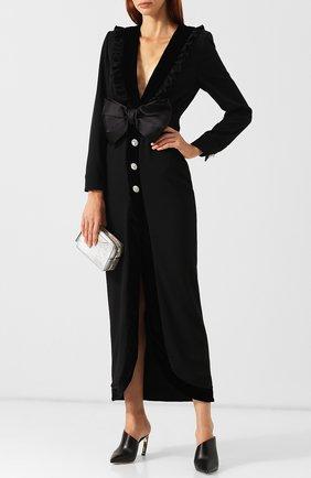 Шерстяное платье-макси с декоративным бантом Alessandra Rich черное | Фото №1