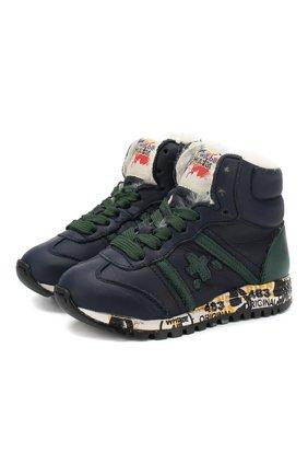 Детские высокие кожаные кроссовки с внутренней меховой отделкой Premiata will be синего цвета | Фото №1