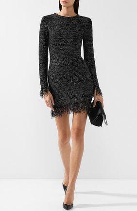 Вязаное мини-платье с бахромой Balmain черное   Фото №1