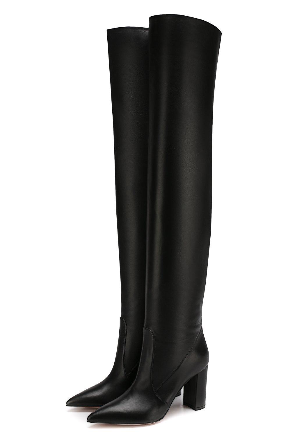 Женские кожаные ботфорты morgan 85 на устойчивом каблуке GIANVITO ROSSI черного цвета, арт. G80618.85RIC.NVINER0   Фото 1