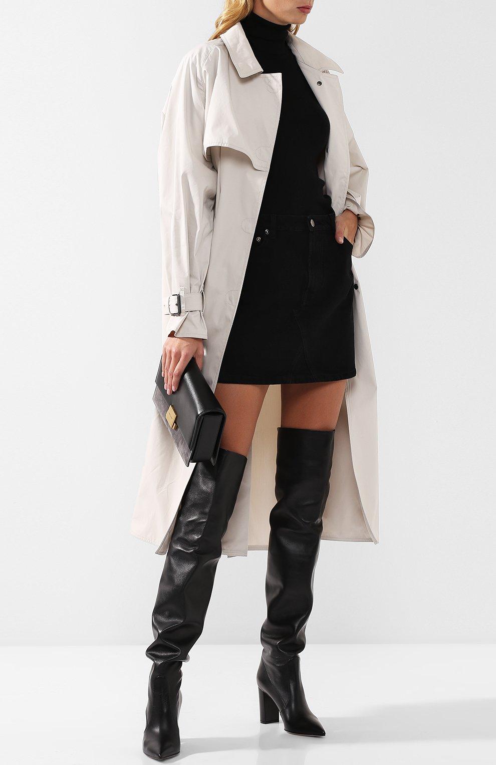 Женские кожаные ботфорты morgan 85 на устойчивом каблуке GIANVITO ROSSI черного цвета, арт. G80618.85RIC.NVINER0   Фото 2