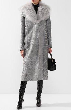 Женское меховое пальто прямого кроя VALENTINO серебряного цвета, арт. QF2FA5134LF | Фото 2