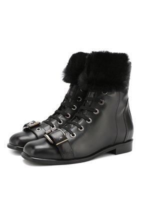 Кожаные ботинки с отделкой из овчины Baldan черные | Фото №1