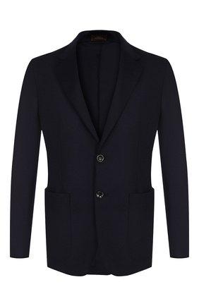 Мужской однобортный пиджак из кашемира ZEGNA COUTURE темно-синего цвета, арт. 477N00/1DV3N0 | Фото 1