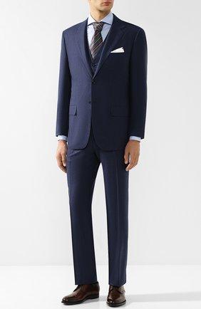 Мужской костюм-тройка из шерсти KITON синего цвета, арт. UAGL81K01X26 | Фото 1