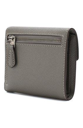 Кожаный кошелек на кнопке Coach серого цвета | Фото №1