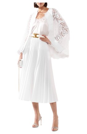 Женская топ из смеси шелка и хлопка DOLCE & GABBANA белого цвета, арт. 07A00T/FUAD8 | Фото 2