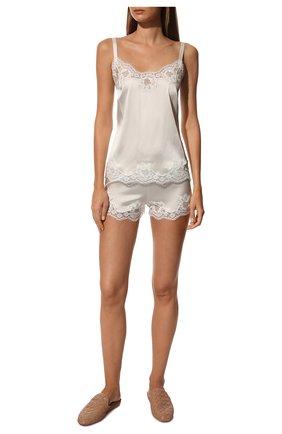 Женская топ из смеси шелка и хлопка DOLCE & GABBANA белого цвета, арт. 07A00T/FUAD8   Фото 2