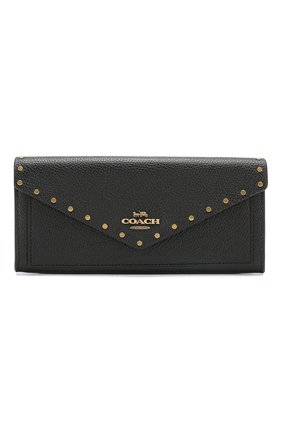 Кожаный кошелек с клапаном Coach черного цвета | Фото №1