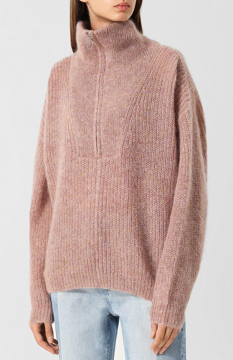 Вязаный пуловер с высоким воротником Isabel Marant Etoile розовый   Фото №3