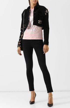 Хлопковая футболка с круглым вырезом и логотипом бренда Versus Versace розовая   Фото №1