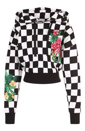 Хлопковый пуловер с капюшоном и декоративной нашивкой Versus Versace черно-белый   Фото №1