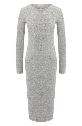 Хлопковое платье-миди с круглым вырезом Vince светло-серое | Фото №1