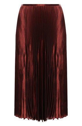 Плиссированная юбка-миди Vince светло-коричневая | Фото №1
